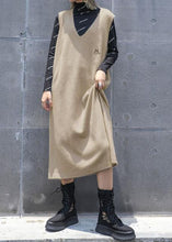Load image into Gallery viewer, Comfy khaki Sweater knit top pattern Vintage sleeveless Big fall knit dress