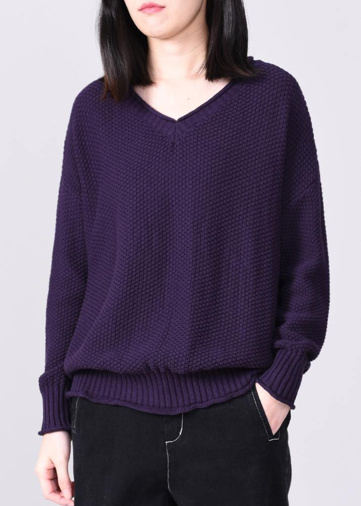 Comfy long sleeve sweater Loose fitting purple knit tops v neck