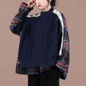 Comfy navy plaid knit sweat tops oversized o neck false two pieces Blouse