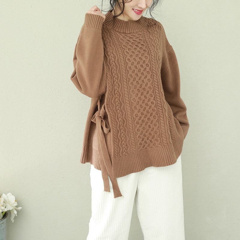 Comfy o neck Bow Sweater tops plus size brown Big knitwear