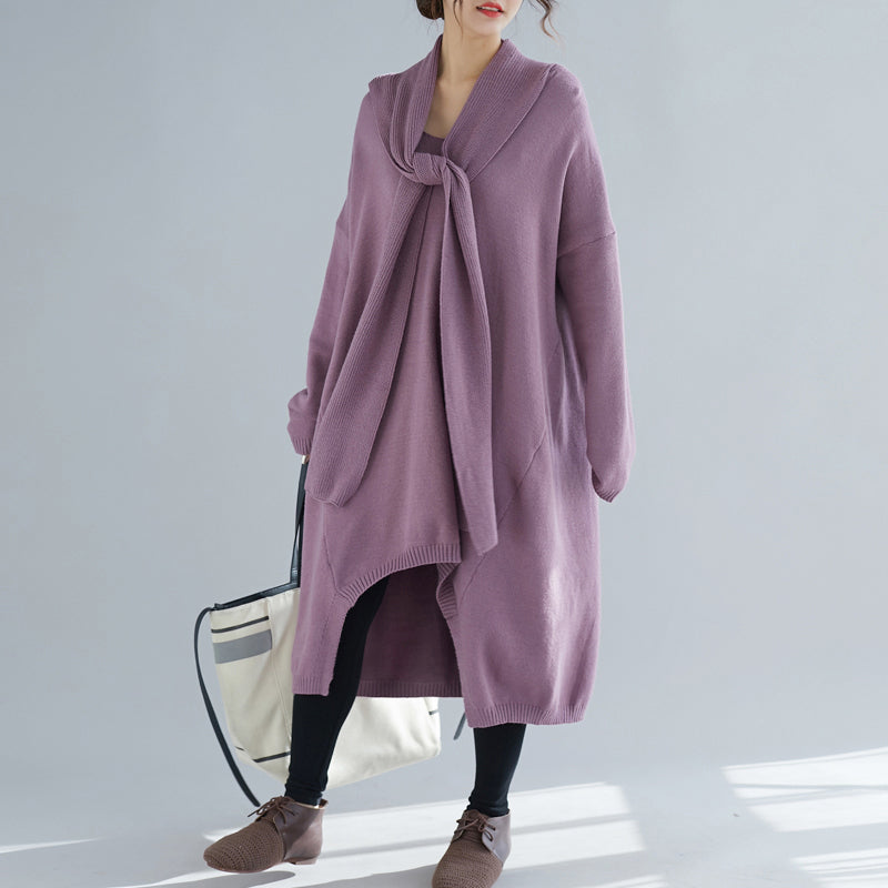 Comfy o neck asymmetric Sweater Aesthetic Largo purple Ugly knit dress
