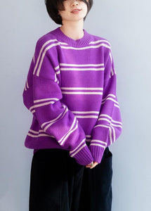 Comfy o neck purple striped knitwear Loose fitting thick Sweater Blouse