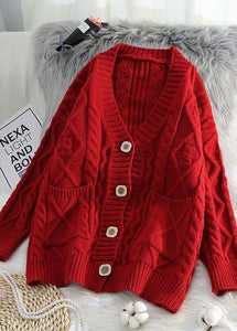 Comfy red knit jacket oversized spring two pockets knitwear