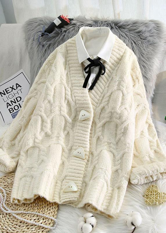 Comfy spring knitwear plus size beige v neck Button sweater coat