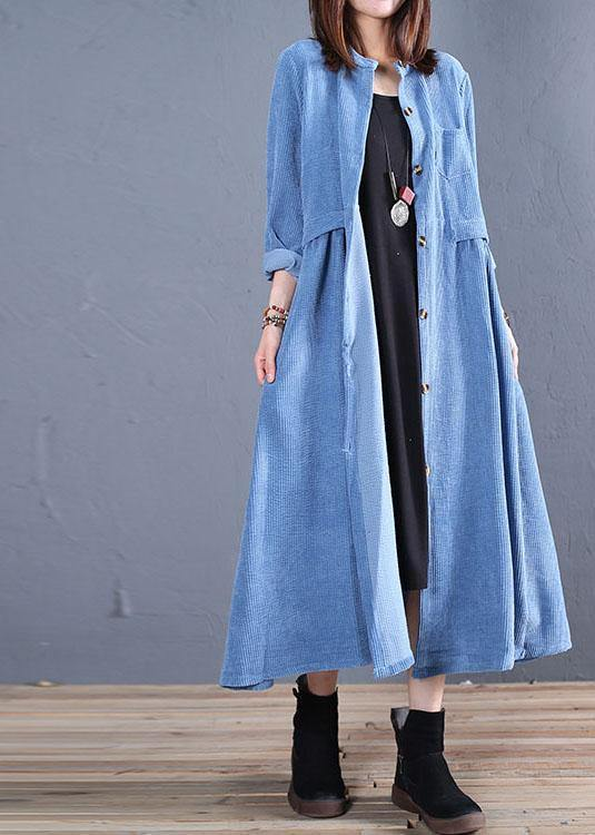 Corduroy blended light blue o neck pockets coat for woman