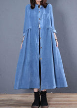 Load image into Gallery viewer, Corduroy blended light blue o neck pockets coat for woman