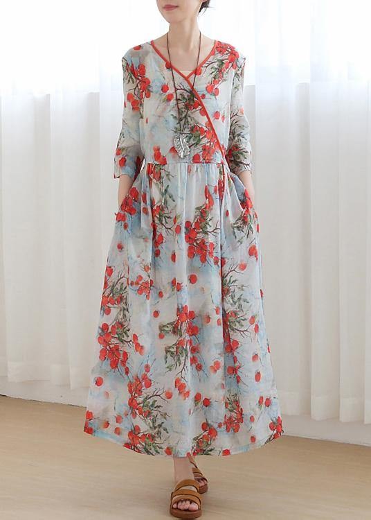 Cotton and linen new style Jiangnan floral five-point sleeve high waist dress ramie printed long skirt