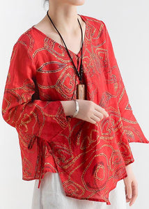 Cotton and linen women's summer V-neck lace high-end large size abstract red printed heart-shaped ramie shirt