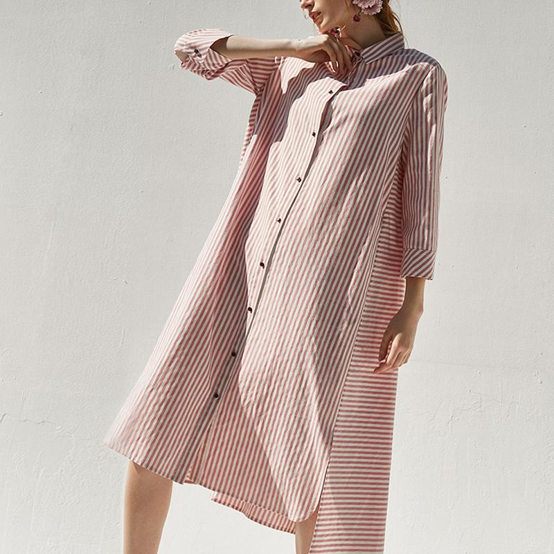 Cotton blended clothes Plus Size Polo Collar Pink Casual Plus Size Shirt  Dress