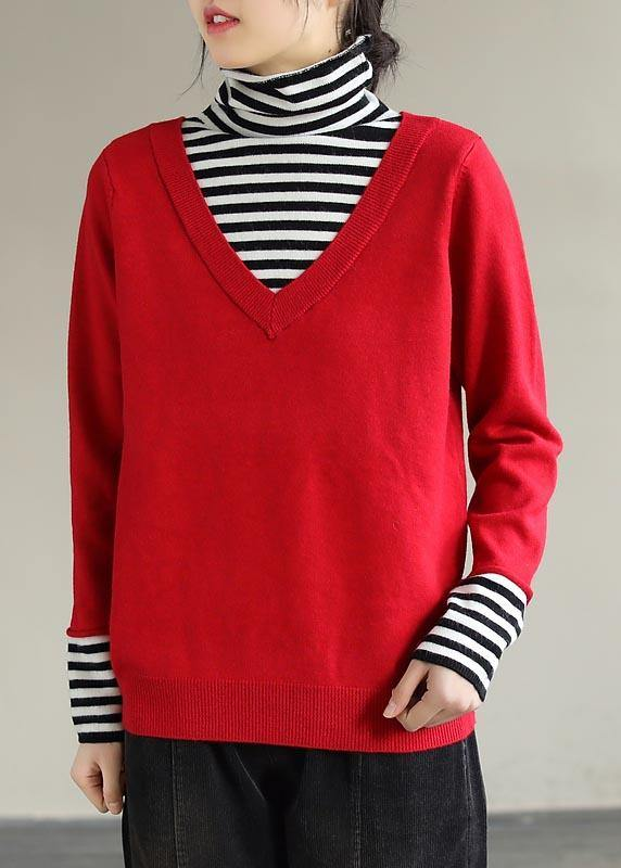 Cozy Spring Red Sweaters Plus Size Patchwork High Neck Blouse