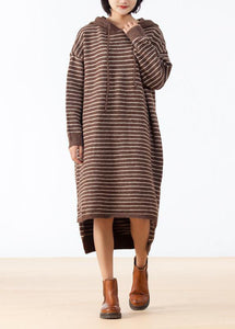 Cozy Sweater weather Largo Coffee High Low Hem Knit Stripe Loose Dress