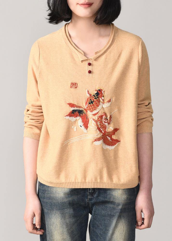 Cozy animal embroidery sweater Loose fitting nude wiled slim knit sweat tops o neck