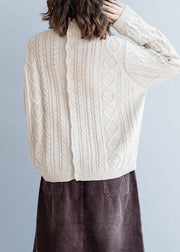 Cozy beige Blouse high neck Button Downfall fashion knit tops