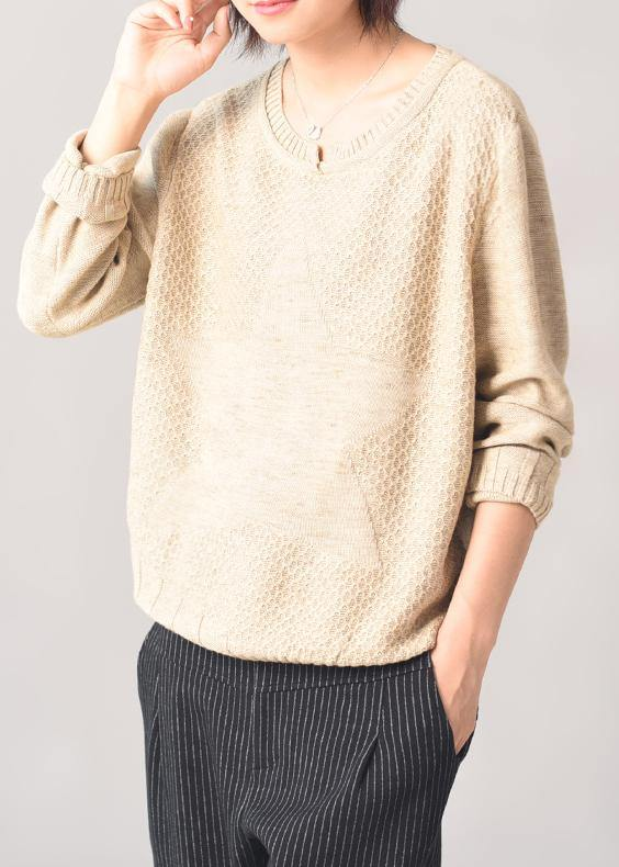 Cozy beige knit tops casual long sleeve slim sweater patchwork