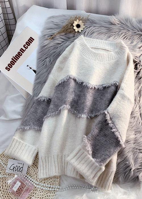 Cozy beige sweater tops fashion Loose fitting patchwork knit tops