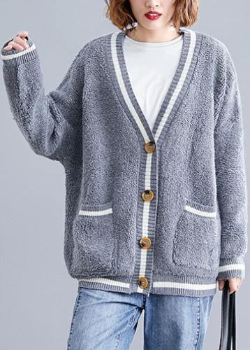 Cozy big pockets gray v neck knitwear plus size clothing fall knitted jackets
