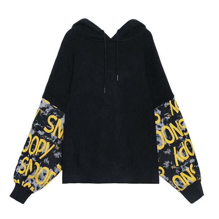 Cozy black Letter crane tops hooded fall fashion knitwear