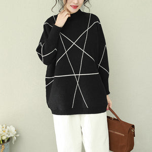 Cozy black knitted outwear Loose fitting o neck knitted tops