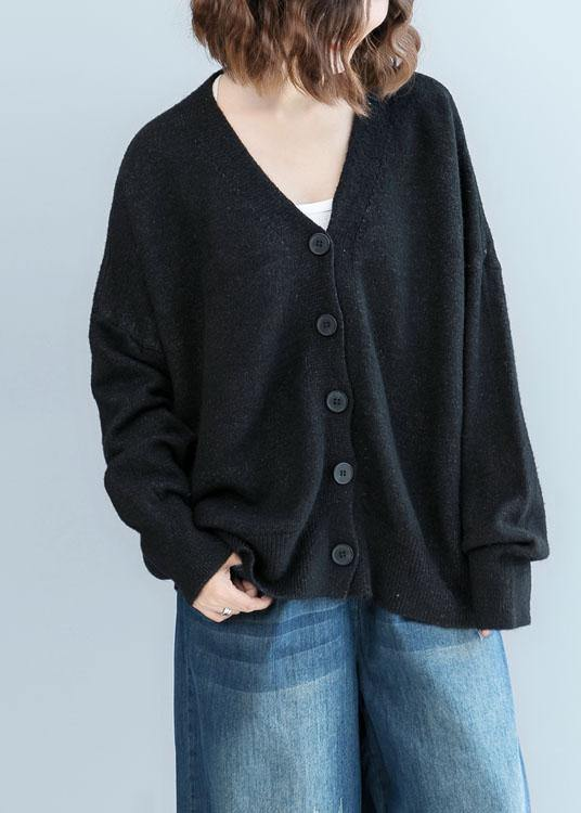 Cozy black sweater tops plus size clothing fall knitwear v neck