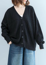 Load image into Gallery viewer, Cozy black sweater tops plus size clothing fall knitwear v neck