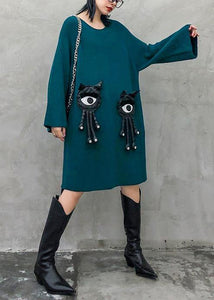 Cozy blue Sweater dress outfit o neck Three-dimensional decoration oversized knitwear