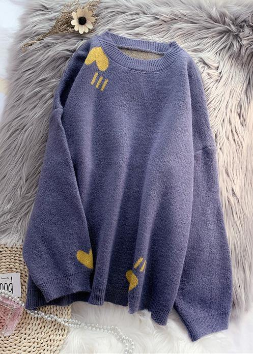 Cozy blue knitted blouse oversized o neck patchwork top