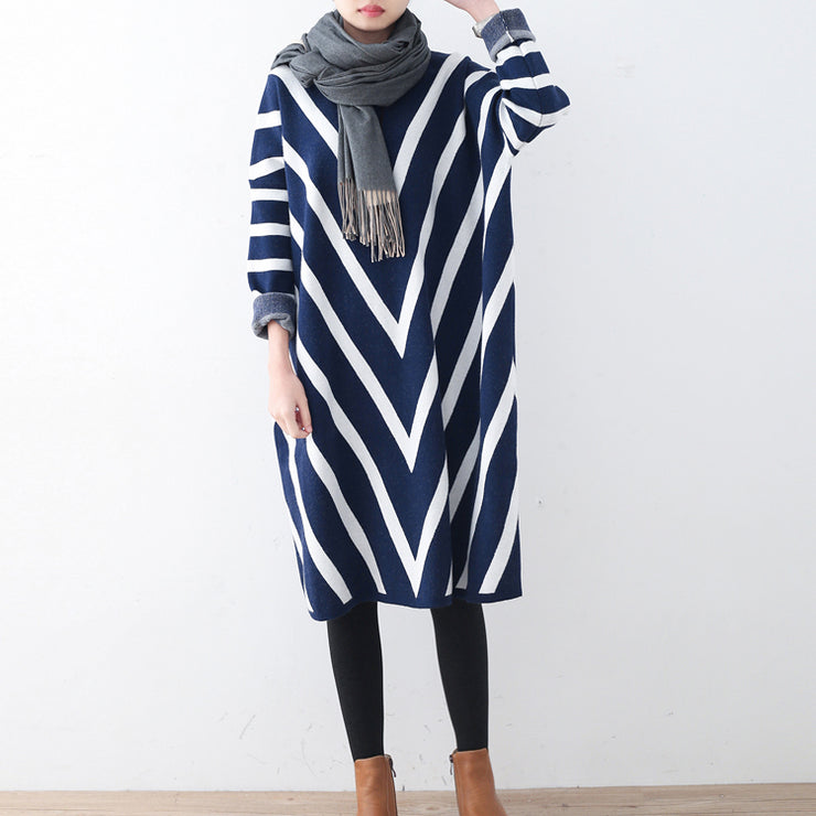 Cozy blue striped sweater dress plus size clothing fall dresses Elegant unique pullover long sleeve