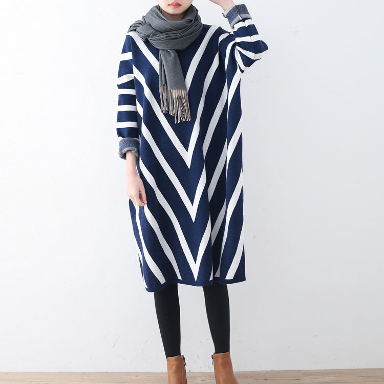 Cozy blue striped sweater dress plus size clothing fall dresses ...