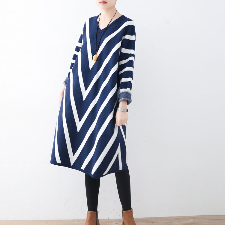 9028f2157618 ... Cozy blue striped sweater dress plus size clothing fall dresses Elegant  unique pullover long sleeve ...