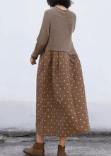 Load image into Gallery viewer, Cozy brown Sweater Wardrobes Quotes o neck tunic patchwork knitwear