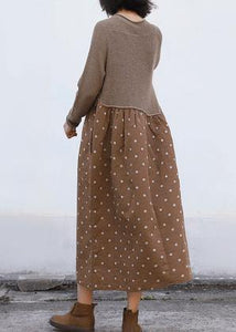 Cozy brown Sweater Wardrobes Quotes o neck tunic patchwork knitwear