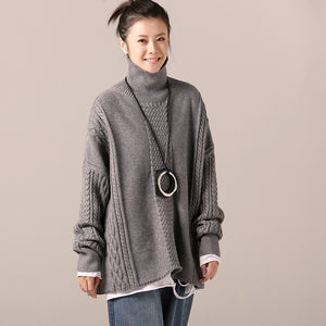 Cozy cotton Sweater outfit Quotes high neck gray Hipster knit top spring cable