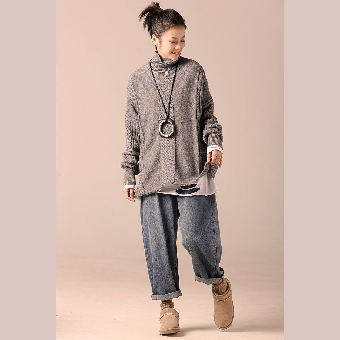 34c8b1de4c8 Cozy cotton Sweater outfit Quotes high neck gray Hipster knit top spring  cable ...