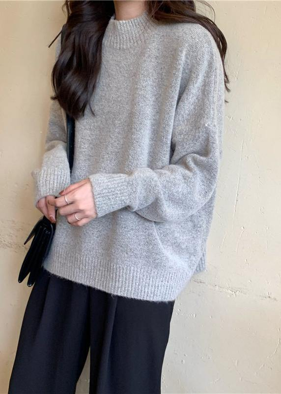 Cozy fall gray knit tops fall fashion high neck knit blouse