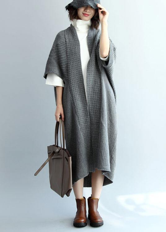 Cozy fall knitted coat trendy plus size gray Batwing Sleeve