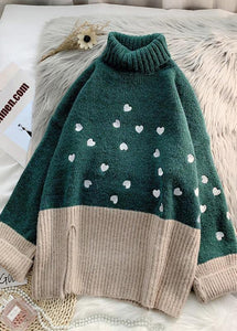 Cozy green Heart print knitted t shirt high neck patchwork oversize knitwear