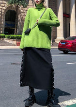 Load image into Gallery viewer, Cozy green knit tops oversize high neck thick knitted pullover