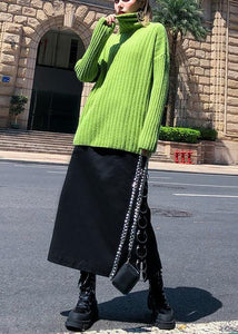 Cozy green knit tops oversize high neck thick knitted pullover