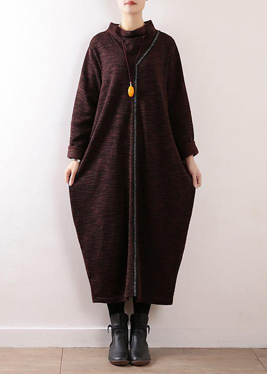 Cozy high neck Sweater dress outfit Re fashion chocolate baggy knit fall