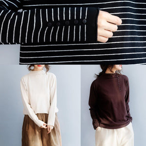 Cozy high neck chocolate knit tops oversize side open collar knit blouse