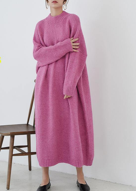 Cozy o neck Sweater fall weather plus size rose daily knit long dresses