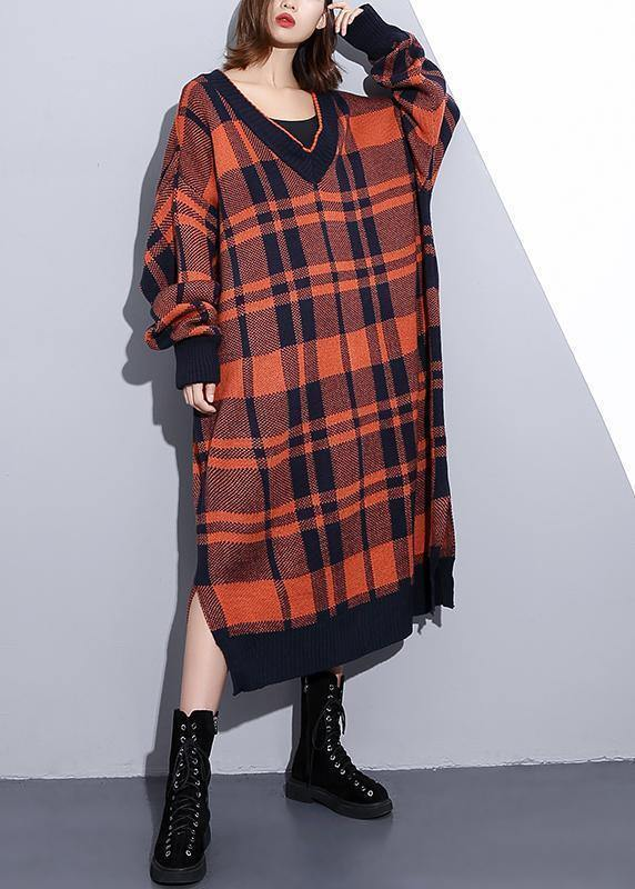 Cozy orange plaid Sweater weather Design v neck side open Art knit dresses