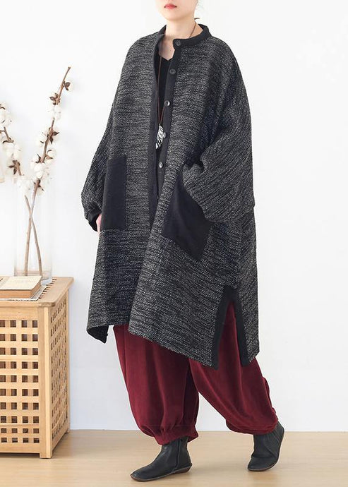 Cozy side open knit sweat tops plus size clothing black big pockets sweater coat
