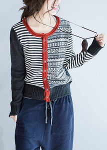 Cozy striped knit jacket plus size fall knit sweat tops o neck Button Down