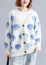 Load image into Gallery viewer, Cozy white dotted knitted top plus size v neck knitted blouse warm