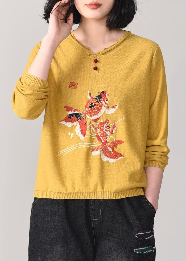 Cozy yellow knit t shirt Loose fitting animal embroidery knitted sweater long sleeve