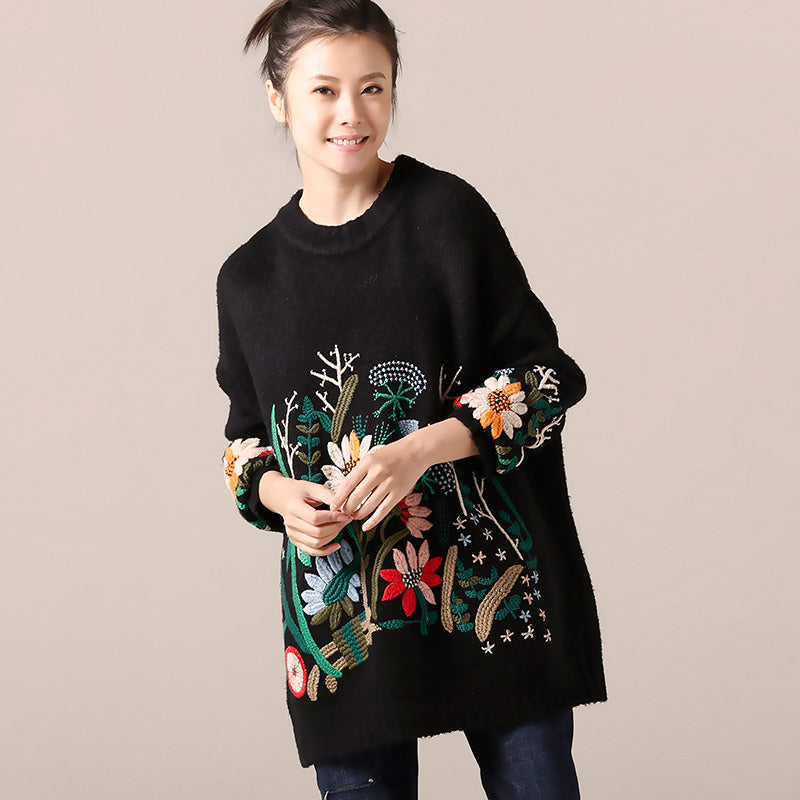 Cute Sweater weather Women o neck black  Ugly knitwear embroidery fall