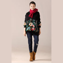 Load image into Gallery viewer, Cute Sweater weather Women o neck black  Ugly knitwear embroidery fall