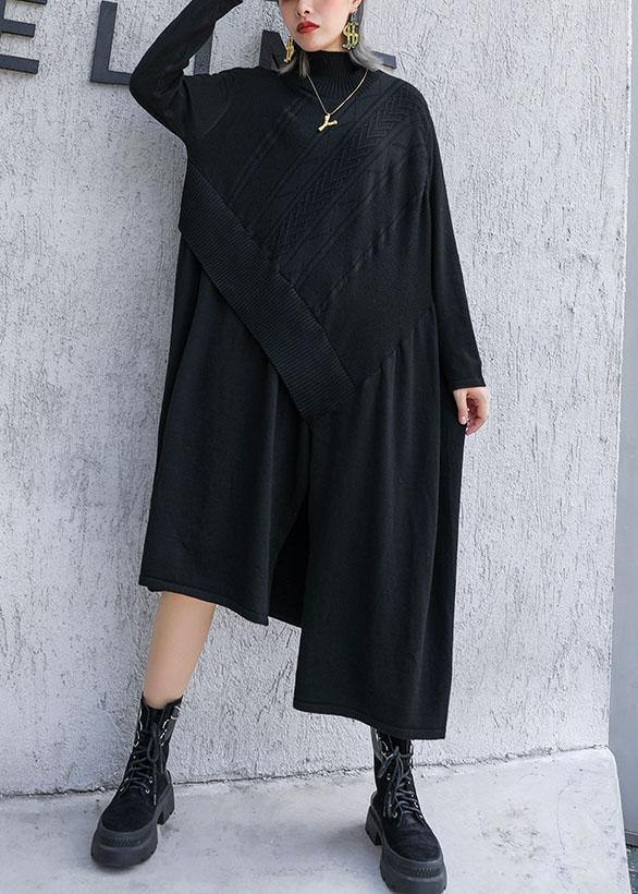 Cute black Sweater dress outfit plus size side open asymmetric oversized fall knit top