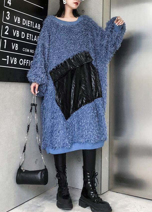 Cute blue Sweater weather plus size o neck tassel Big sweater dresses